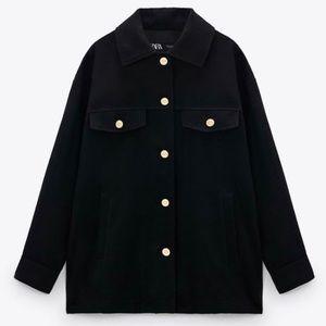 NEW Zara Wool Gold Button Shacket/Shirt Jacket